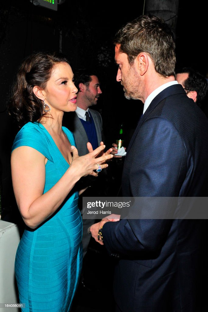 Ashley Judd and Gerard Butler attend 'Olympus Has Fallen' Premiere Reception presented by Grey Goose Vodka at Lure on March 18, 2013 in Hollywood, California.