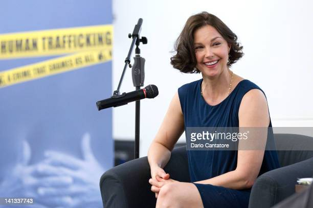 Ashley Judd attends Ashley Judd in Conversation with the United Nations Office on Drugs and Crime at the United Nations on March 14 2012 in New York...