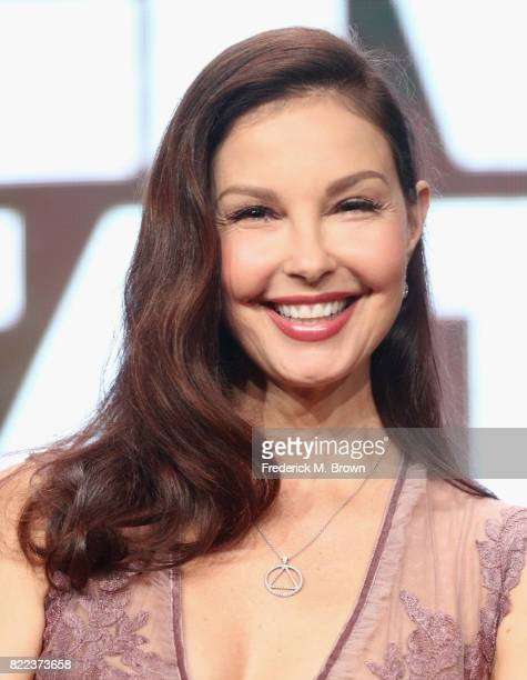 Ashley Judd of the series 'Berlin Station' speaks onstage during the EPIX portion of the 2017 Summer Television Critics Association Press Tour at The...
