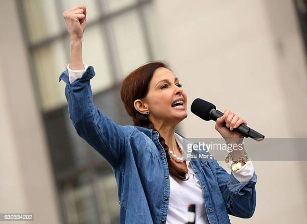 Ashley Judd speaks at the rally at the Women's March on Washington on January 21 2017 in Washington DC