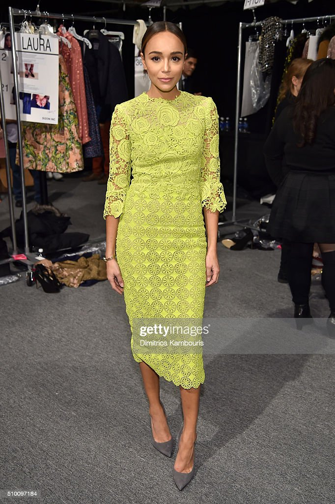 <a gi-track='captionPersonalityLinkClicked' href=/galleries/search?phrase=Ashley+Madekwe&family=editorial&specificpeople=5526423 ng-click='$event.stopPropagation()'>Ashley Madekwe</a> poses backstage at the Monique Lhuillier Fall 2016 fashion show during New York Fashion Week: The Shows at The Arc, Skylight at Moynihan Station on February 13, 2016 in New York City.