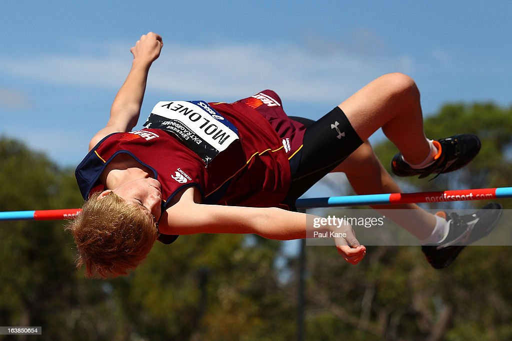 Ashley Maloney of Queensland competes in the mens u14 high jump during day six of the Australian Junior Championships at the WA Athletics Stadium on March 17, 2013 in Perth, Australia.