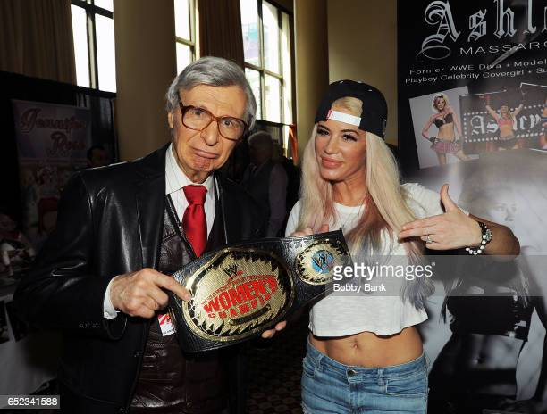 Ashley Massaro and The Amazing Kreskin attend the 2017 Big Apple Con at Penn Plaza Pavilion on March 11 2017 in New York City