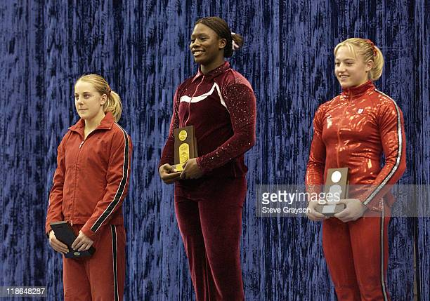 Ashley Miles of Alabama First Place Annabeth Eberle of Utah second place and Natalie Foley of Stanford third place winners in the Vault at the 2004...