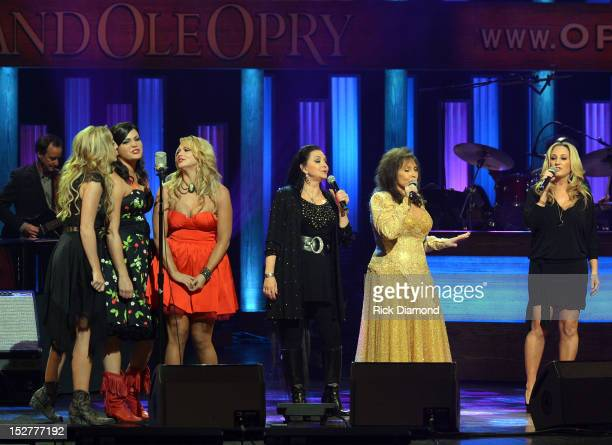 Ashley Monroe Angaleena Presley and Miranda Lambert of Pistol Annies Crystal Gayle Loretta Lynn and Lee Ann Womack perform the finale during the...