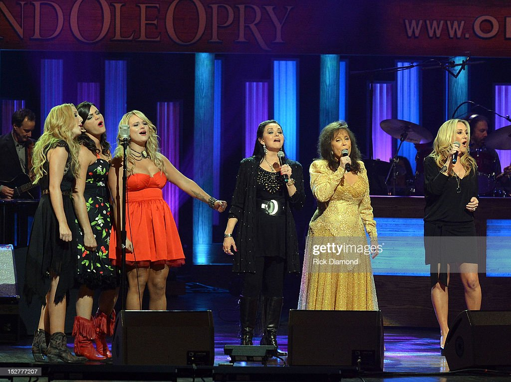 Ashley Monroe, <a gi-track='captionPersonalityLinkClicked' href=/galleries/search?phrase=Angaleena+Presley&family=editorial&specificpeople=7622165 ng-click='$event.stopPropagation()'>Angaleena Presley</a> and <a gi-track='captionPersonalityLinkClicked' href=/galleries/search?phrase=Miranda+Lambert&family=editorial&specificpeople=571972 ng-click='$event.stopPropagation()'>Miranda Lambert</a> of Pistol Annies, <a gi-track='captionPersonalityLinkClicked' href=/galleries/search?phrase=Crystal+Gayle&family=editorial&specificpeople=1537366 ng-click='$event.stopPropagation()'>Crystal Gayle</a>, <a gi-track='captionPersonalityLinkClicked' href=/galleries/search?phrase=Loretta+Lynn&family=editorial&specificpeople=213139 ng-click='$event.stopPropagation()'>Loretta Lynn</a> and <a gi-track='captionPersonalityLinkClicked' href=/galleries/search?phrase=Lee+Ann+Womack&family=editorial&specificpeople=706318 ng-click='$event.stopPropagation()'>Lee Ann Womack</a> perform the finale during the celebration of <a gi-track='captionPersonalityLinkClicked' href=/galleries/search?phrase=Loretta+Lynn&family=editorial&specificpeople=213139 ng-click='$event.stopPropagation()'>Loretta Lynn</a>'s 50th Opry Anniversary at The Grand Ole Opry on September 25, 2012 in Nashville, Tennessee.