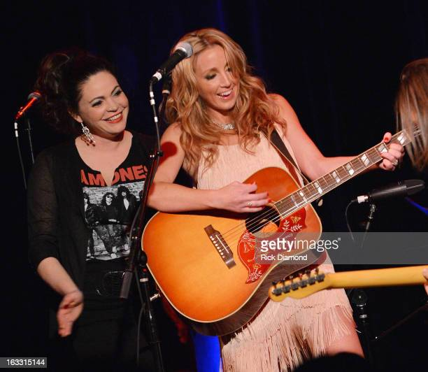 Ashley Monroe is joined by her Pistol Annies band mate Angaleena Presley during the Ashley Monroe Album Release Party for ' Like a Rose' at 3rd...