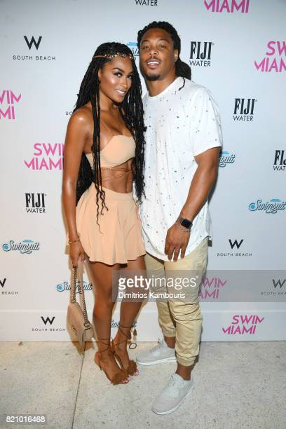 Ashley Nicole and Phillip Wheeler attends the SWIMMIAMI Sports Illustrated Swimsuit 2018 Collection at WET Deck at W South Beach on July 22 2017 in...
