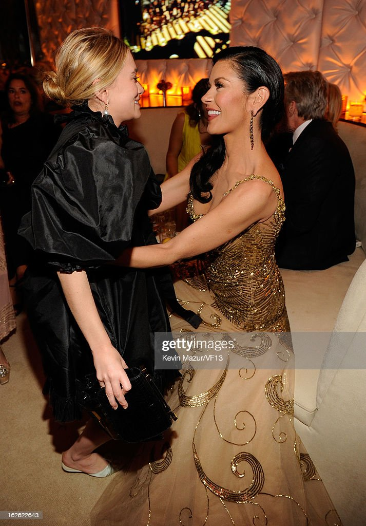 Ashley Olsen and Catherine Zeta-Jones attend the 2013 Vanity Fair Oscar Party hosted by Graydon Carter at Sunset Tower on February 24, 2013 in West Hollywood, California.