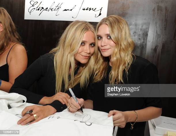 Ashley Olsen and Mary Kate Olsen attend the Elizabeth and James Pop Up Shop celebration of Fashion's Night Out at Elizabeth and James Pop Up Shop on...