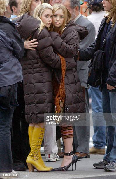 Ashley Olsen and Mary Kate Olsen during 'New York Minute' on Location in New York City October 4 2003 at New York City in New York NY United States