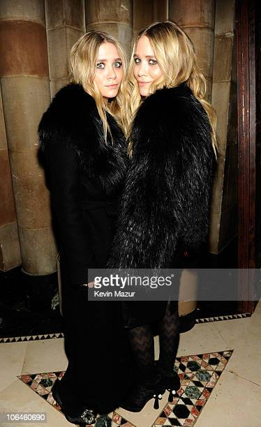 Ashley Olsen and MaryKate Olsen attend the WWD @ 100 Anniversary Party at Cipriani 42nd Street on November 2 2010 in New York City