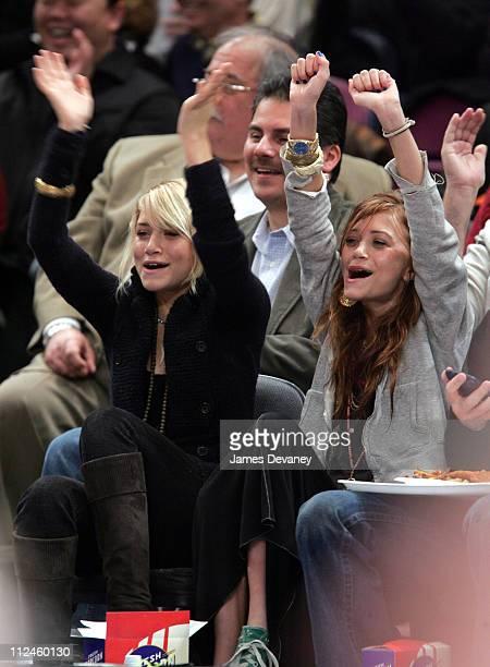 Ashley Olsen and MaryKate Olsen during Celebrities Attend Boston Celtics vs New York Knicks Game at Madison Square Garden in New York City New York...