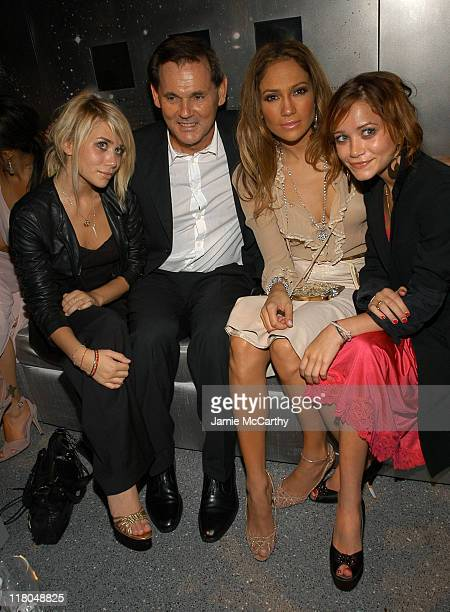 Ashley Olsen Bernd Beetz CEO of Coty Inc Jennifer Lopez and MaryKate Olsen at Coty's 100th Anniversary Celebration in New York City
