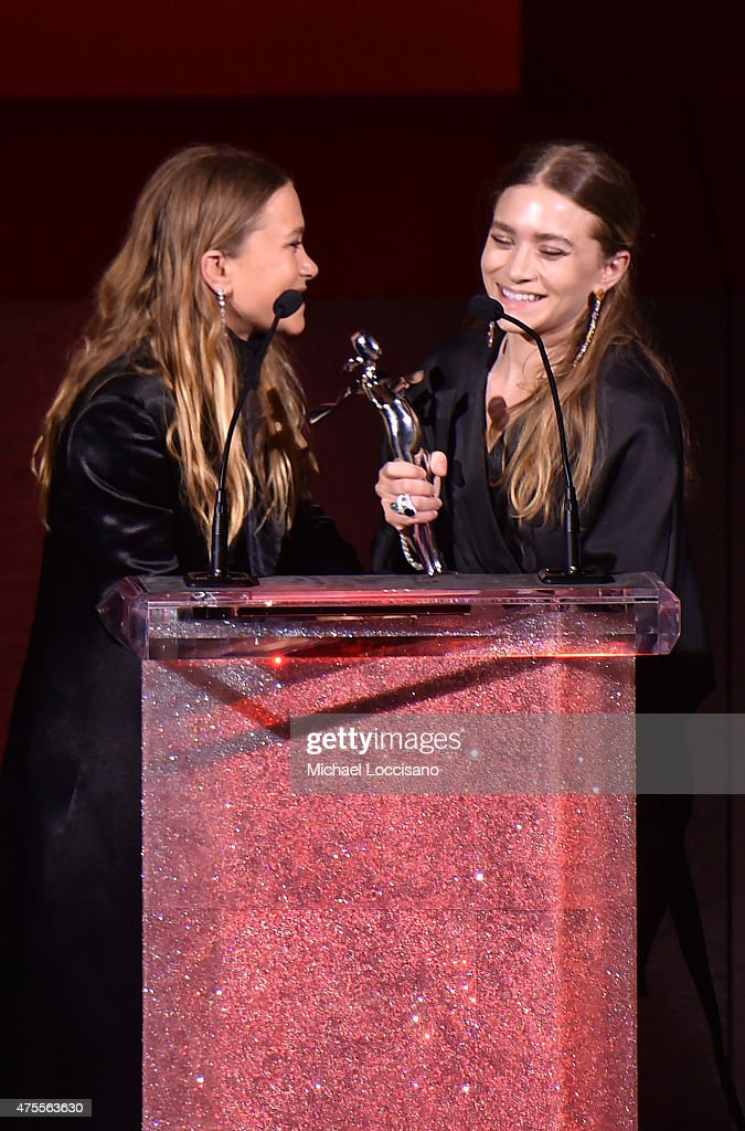 Ashley Olson and MaryKate Olson accept the Womenswear Designer of the Year Award onstage at the 2015 CFDA Fashion Awards at Alice Tully Hall at...