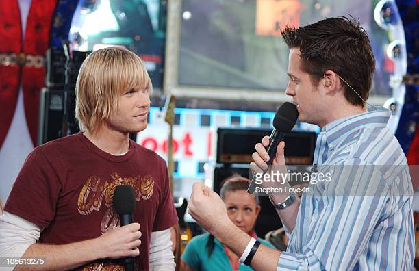 Ashley Parker Angel and Damien Fahey during Ashley Parker Angel Visits MTV's 'TRL' April 18 2006 at MTV Studios in New York City New York United...