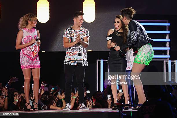 Ashley Perez Maluma Danna Paola and Hanna Perez speak on stage during the MTV Millennial Awards 2014 at Pepsi Center WTC on August 12 2014 in Mexico...