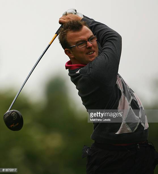 Ashley Pheasant tees off from the 1st tee during the Powerade PGA Assistant's Championship North Region Qualifier at Knaresborough Golf Club on July...