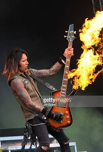 Ashley Purdy of Black Veil Brides performs live on stage during Day 2 of the Download Festival at Donington Park on June 13 2015 in Castle Donington...