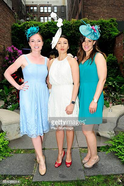 Ashley Puscas MaryElizabeth Walker and Marilyn DuffyCabana attend Historic Royal Palaces Patrons Secret Garden Party at Merchant's House Museum on...