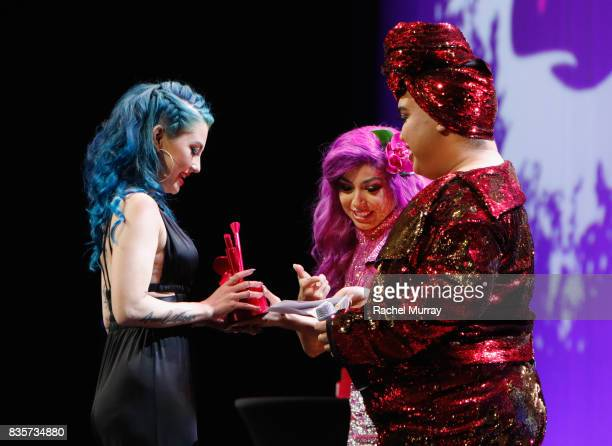 Ashley Quiroz Charis Amber Lincoln and Patrick Starrr at the 2017 NYX Professional Makeup FACE Awards at The Shrine Auditorium on August 19 2017 in...