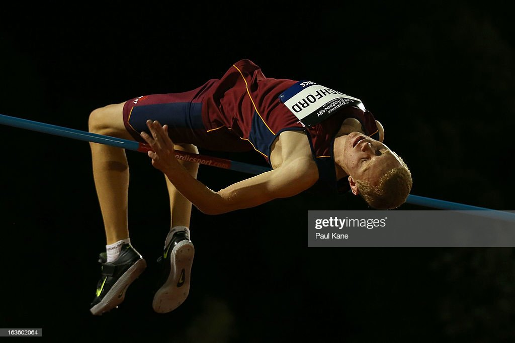 Ashley Retchford of Queensland competes in the men's u18 high jump during day two of the Australian Junior Championships at the WA Athletics Stadium on March 13, 2013 in Perth, Australia.
