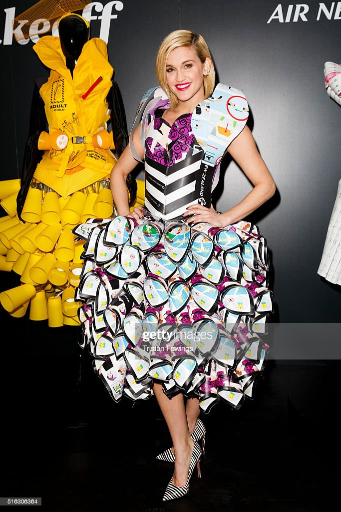 Ashley Roberts models a dress created entirely from airline safety cards to launch Air New Zealand's #RunwaytoLA campaign celebrating LA Fashion Week...