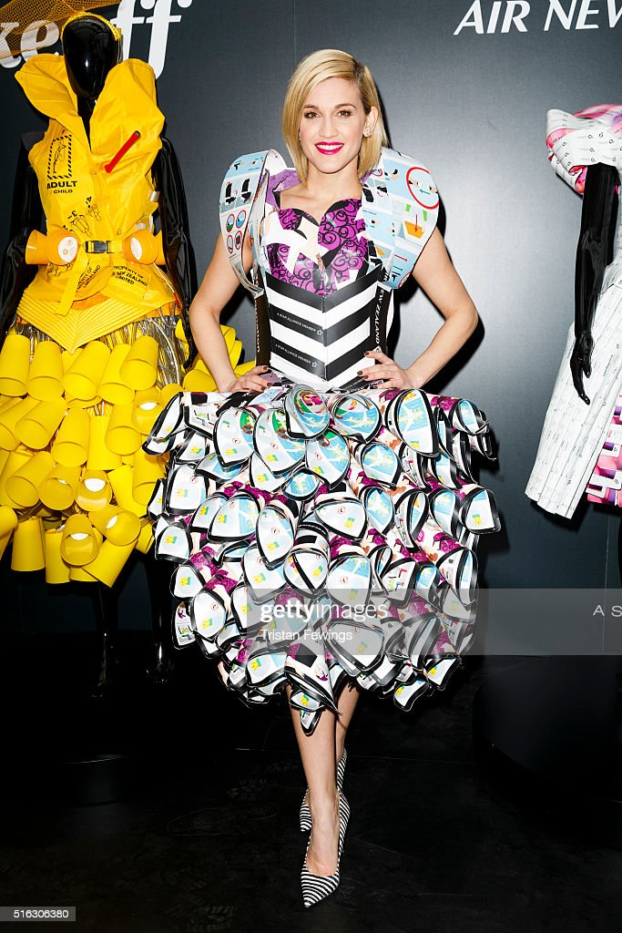 Ashley Roberts models a dress created entirely from airline safety cards to launch Air New Zealand's #RunwaytoLA campaign celebrating LA Fashion Week at Waterloo Station on March 18, 2016 in London, England.
