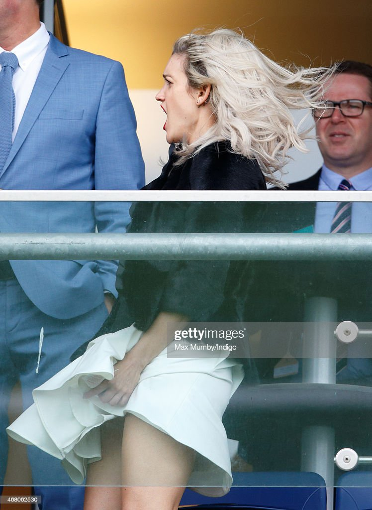 Ashley Roberts watches the racing as she attends The Prince's Countryside Fund Raceday at Ascot Racecourse on March 29 2015 in London England