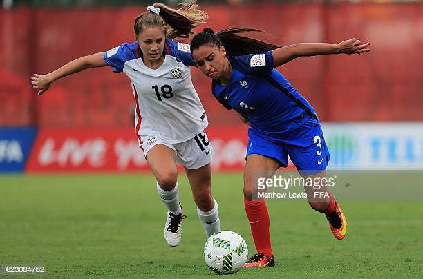 Ashley Sanchez of the United States and Sakina Karchaoui of France challenge for the ball during the FIFA U20 Women's World Cup Papua New Guinea 2016...