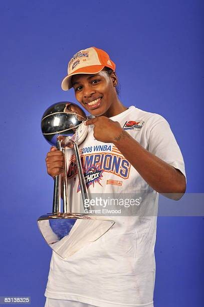 Ashley Shields of the Detroit Shock poses for a portrait after winning Game Three of the WNBA Finals against the San Antonio Silver Star on October 5...