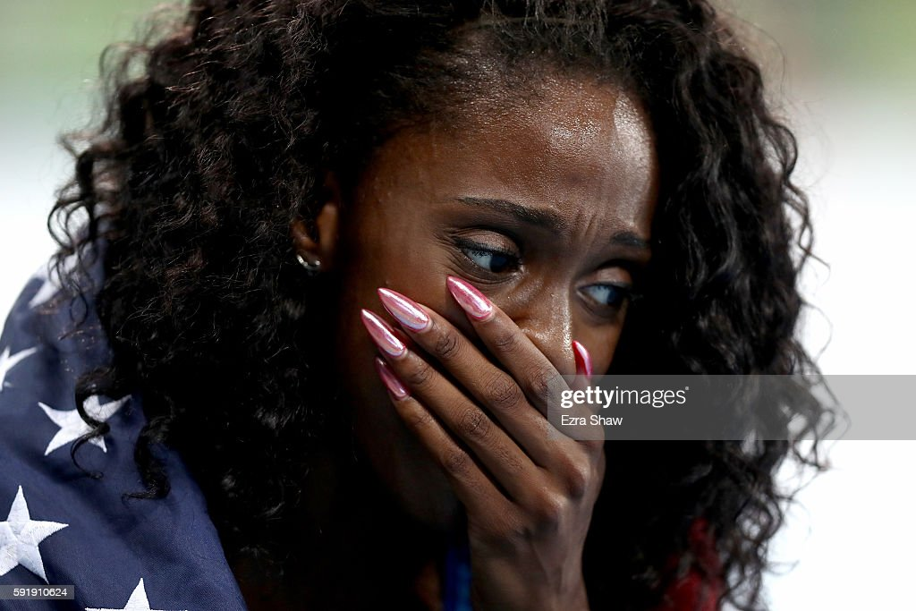 Ashley Spencer of the United States celebrates winning bronze in the Women's 400m Hurdles Final on Day 13 of the Rio 2016 Olympic Games at the...