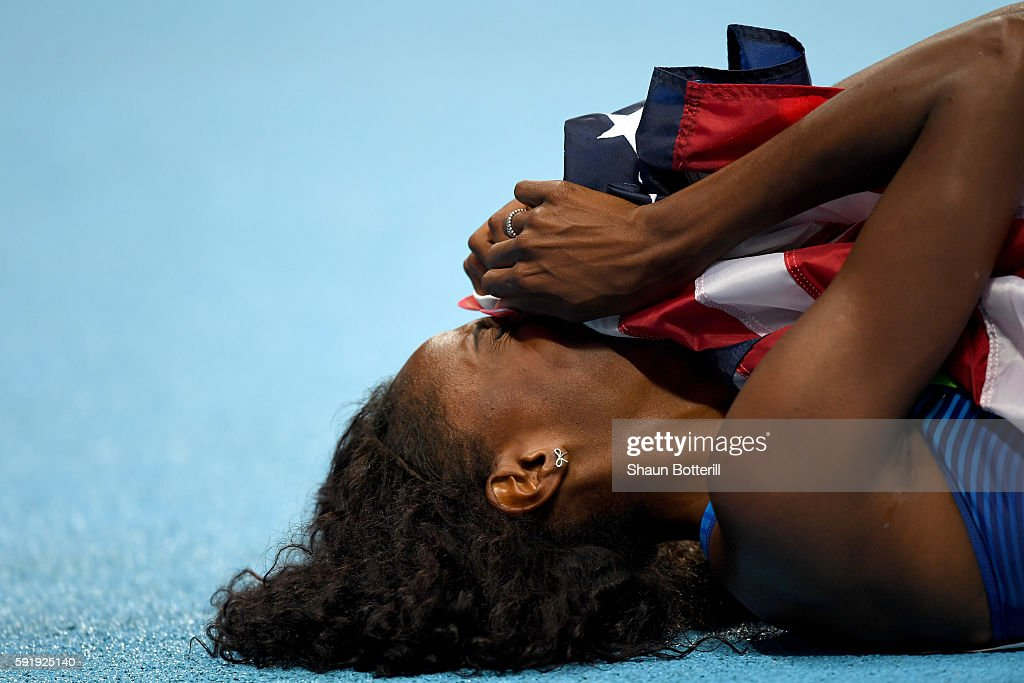 Ashley Spencer of the United States reacts after winning bronze in the Women's 400m Hurdles Final on Day 13 of the Rio 2016 Olympic Games at the...
