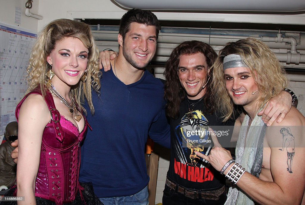 Ashley Spencer Tim Tebow Justin Matthew Sargent and Jeremy Woodard pose backstage at the hit rock musical 'Rock of Ages' on Broadway at The Helen...