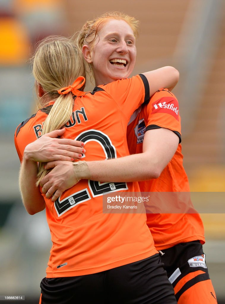Ashley Spina of the Roar celebrates after scoring the match winning goal in the final minutes of the match during the round six W-League match between the Brisbane Roar and the Melbourne Victory at the Queensland Sport and Athletics Centre on November 24, 2012 in Brisbane, Australia.