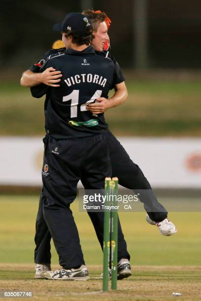 Ashley Sweet of Victoria celebrates a wicket with team mates during the National Indigenous Cricket Championships Final between New South Wales and...