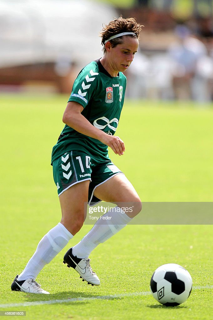 Ashley Sykes of Canberra United controls the ball during the round five W-League match between the Newcastle Jets and Canberra United at Wanderers Oval on December 14, 2013 in Newcastle, Australia.