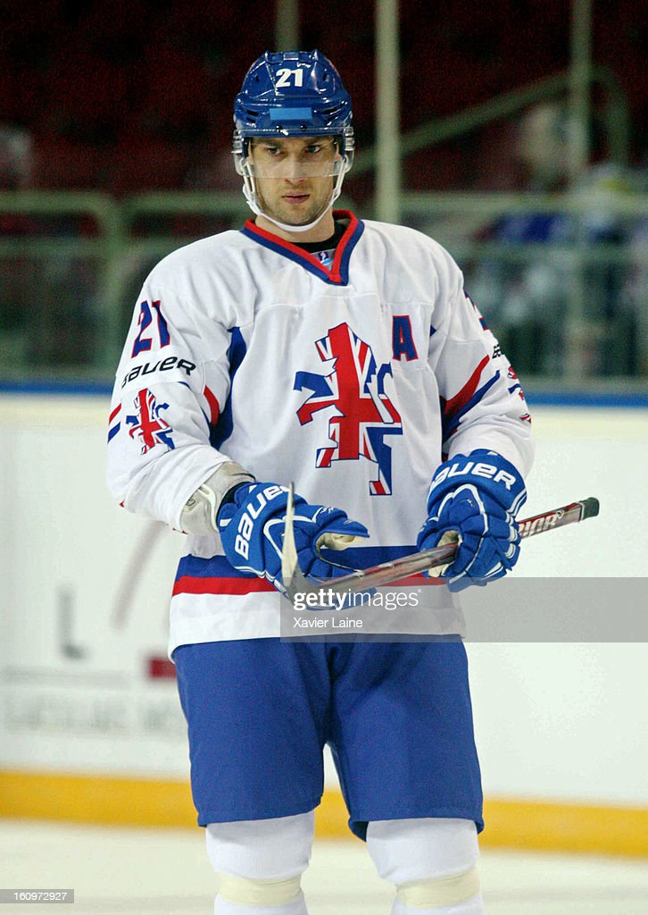 Ashley Tait of Great Britain looks on during the Sochi 2014 Olympic Ice Hockey Qualification match between France and Great Britain, at Riga Arena on February 8, 2013 in Riga, Latvia.