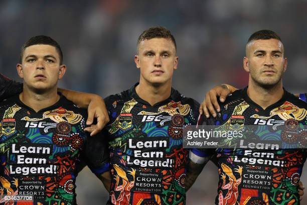 Ashley Taylor Jack Wighton and Joel Thompson of the Indigenous All Stars line up during the NRL All Stars match between the 2017 Harvey Norman All...