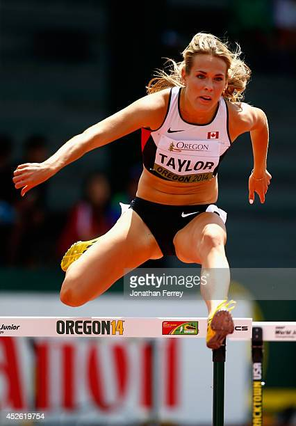 Ashley Taylor of Canada competes in the women's 400m hurdle during day three of the IAAF World Junior Championships at Hayward Field on July 24 2014...
