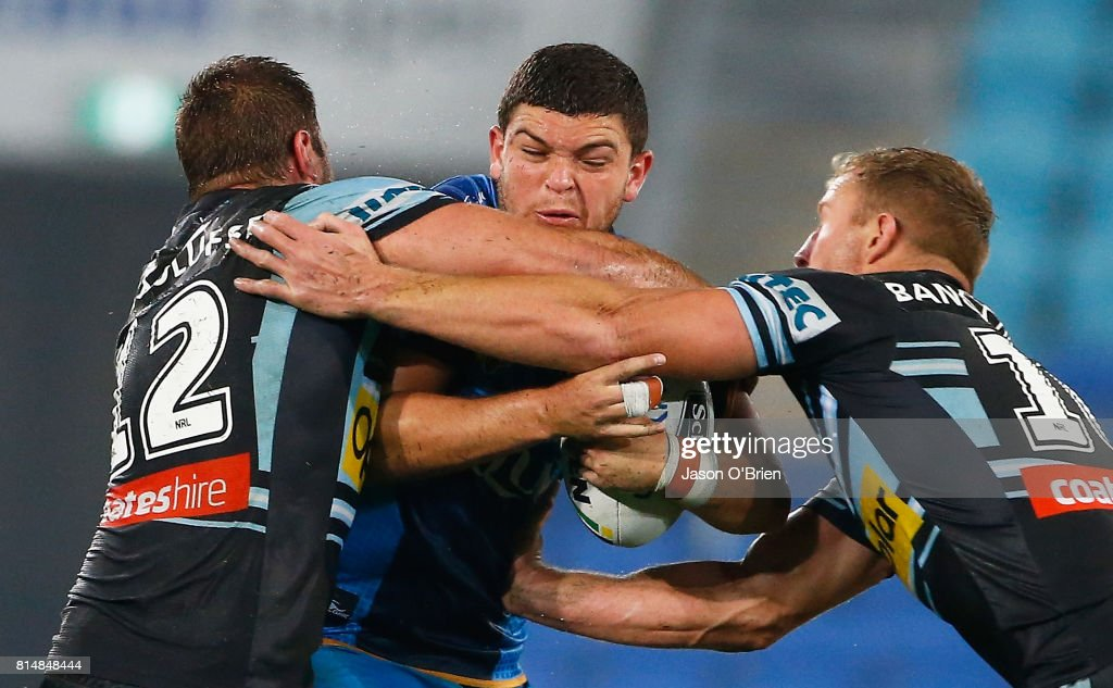 Ashley Taylor of the Titans in action during the round 19 NRL match between the Gold Coast Titans and the Cronulla Sharks at Cbus Super Stadium on July 15, 2017 in Gold Coast, Australia.