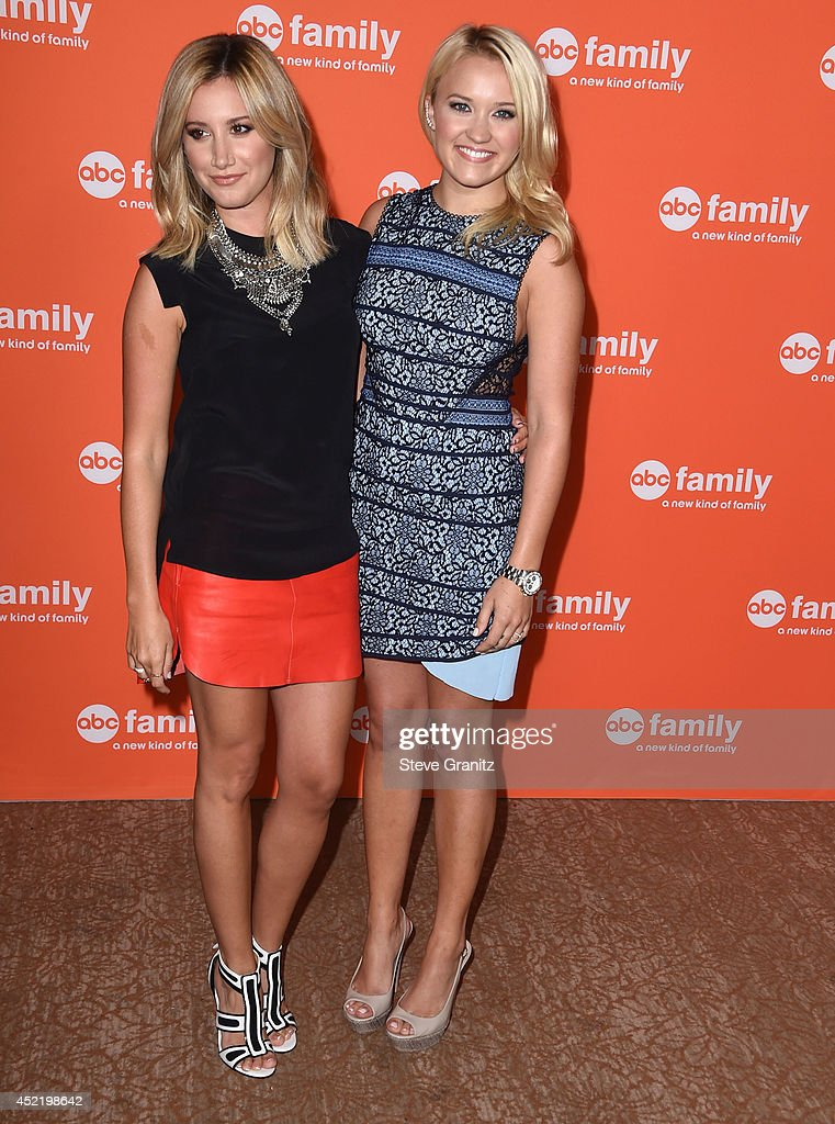 Ashley Tisdale and Emily Osment arrives at the 2014 Television Critics Association Summer Press Tour - Disney/ABC Television Group at The Beverly Hilton Hotel on July 15, 2014 in Beverly Hills, California.