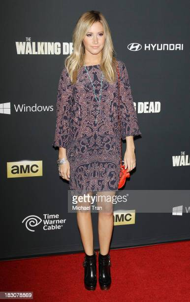 Ashley Tisdale arrives at the Los Angeles premiere of AMC's 'The Walking Dead' 4th season held at Universal CityWalk on October 3 2013 in Universal...
