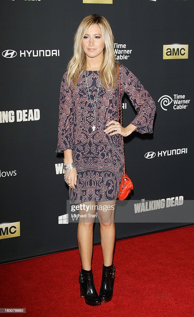 Ashley Tisdale arrives at the Los Angeles premiere of AMC's 'The Walking Dead' 4th season held at Universal CityWalk on October 3, 2013 in Universal City, California.