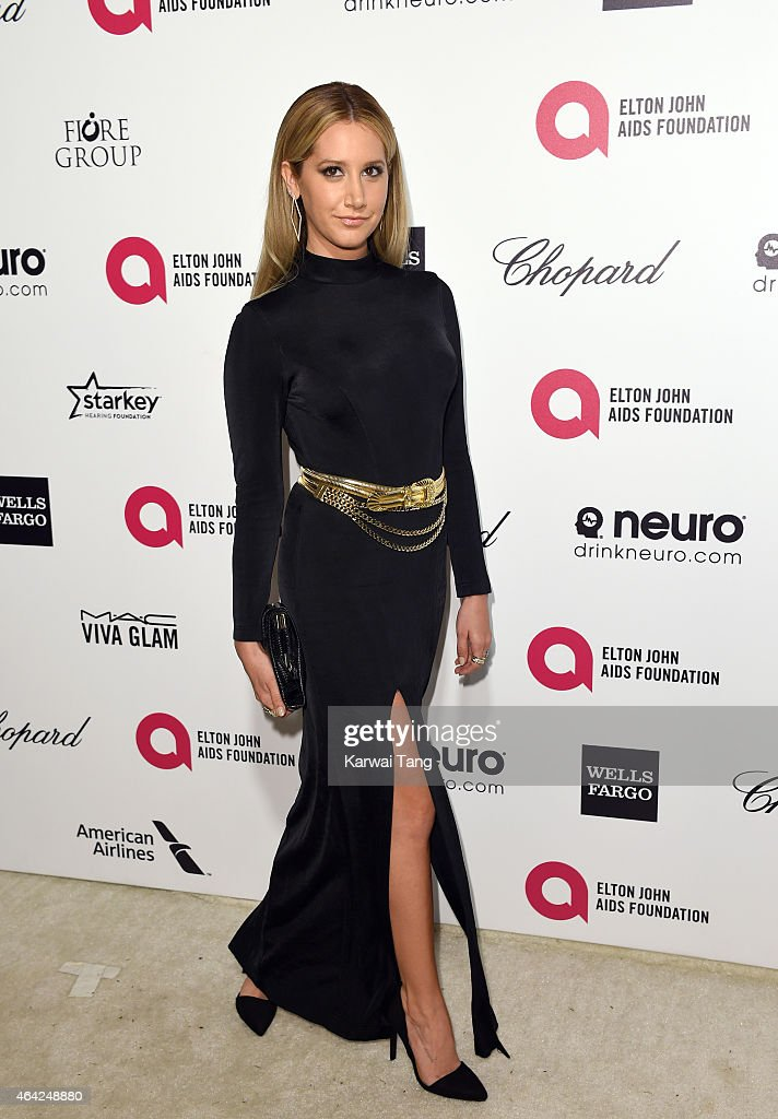 Ashley Tisdale attends the Elton John AIDS Foundation's 23rd annual Academy Awards Viewing Party at The City of West Hollywood Park on February 22, 2015 in West Hollywood, California.