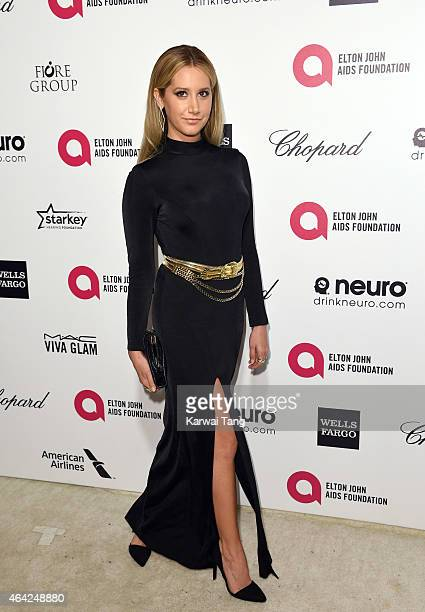 Ashley Tisdale attends the Elton John AIDS Foundation's 23rd annual Academy Awards Viewing Party at The City of West Hollywood Park on February 22...