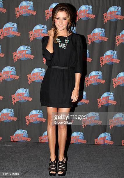 Ashley Tisdale poses as she promotes The Disney Channel's 'Sharpay's Fabulous Adventure' DVD release at Planet Hollywood Times Square on April 13...