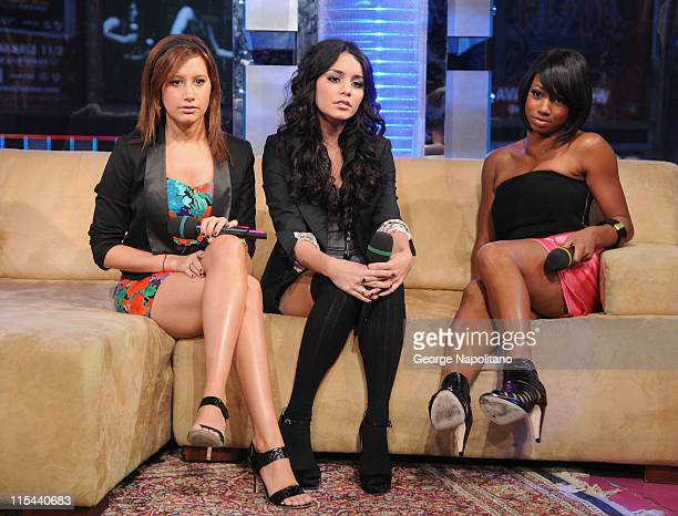 Ashley Tisdale Vanessa Hudgens and Monique Coleman visit MTV's 'TRL' at MTV Studios in Times Square on October 21 2008 in New York City