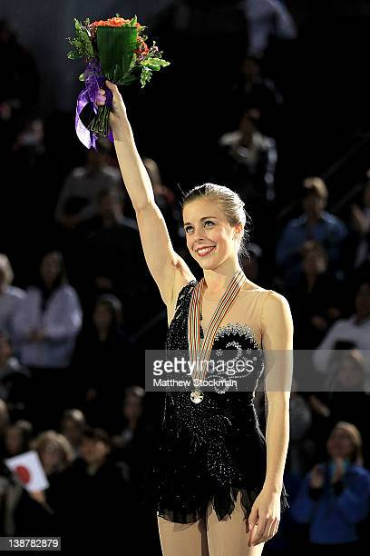 Ashley Wagner celebrates on the victory podium after winning the Ladies Competition during the ISU Four Continents Figure Skating Championships at...