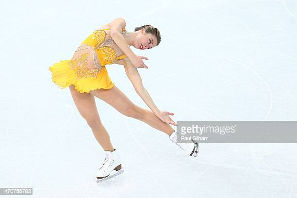 Ashley Wagner of the United States competes in the Figure Skating Ladies' Free Skating on day 13 of the Sochi 2014 Winter Olympics at Iceberg Skating...